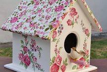 decoupage birdhouses