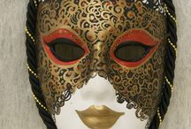 """Venetian Masks - hand painted, made of plaster of paris. / My """"venetian masks"""" are made of plaster of paris. This kind is very small, it won't fit on your face, so rather this is kind of decoration. Hand painted!"""