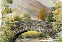 Aquarell Brücke