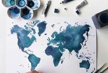 Mapas del mundo en acuarela / Láminas de mapas mundi realizados en acuarela, ilustraciones y pinturas en acuarela original