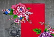 стена цветы