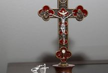 Catholic Milestones Hand Carved Crucifix and Statues / Made in Italy Hand carved and hand painted crucifixes crosses statues carvings figures Saints Madonnas Marry Church supplies