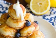 Scones and pancakes/waffles.