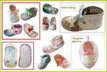 Kraamcadeau / Van een geboortekaartje een geboorteschoentje gemaakt. Leuk kraamcadeau. Zie www.mozaiekdecor.nl