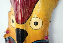 MÁSCARAS / pájaros pintados en corteza de palmera
