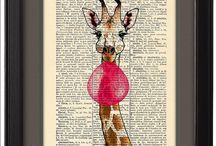 Art prints / Prints we offer are hand made illustrations printed directly on vintage or antique dictionary page.
