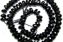 Pitch Black Spinel Beads Necklace / Super Pitch Black Beads String Necklace