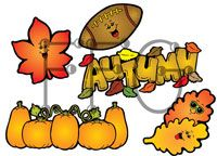 Fall Clipart / Clipart for bulletin boards, coloring, newsletters, etc.  Fun and colorful clip art for Autumn time.  Find more seasonal clipart at http://bit.ly/2caib2v