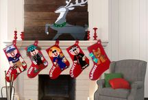 Christmas Stockings Inside and Out / ~Christmas Mantel Ideas ~Stocking Stuffer Ideas ~Creative places to hang Christmas stockings