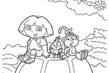Coloriages Dora l'exploratrice / Découvrez le monde de Dora l'exploratrice et ses amis Babouche, Chipeur le renard et Sakado à travers ces coloriages pour enfants.