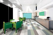"Azrock® TexTile™ VCT / A contemporary textile modular visual with the traditional value and durability of VCT, no two pieces are alike – allowing for a unique textile look ideal for high traffic areas. Available in 15 colors in both 12""x12"" tiles or 12""x24"" planks for true modularity.  www.tarkettna.com/textile / by Johnsonite (Tarkett NA Commercial)"