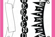 Weekend Banners / Clear stamp from pinkandmain.com