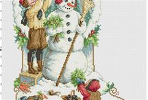 Botas en punto cruz navidad