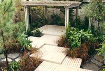 Modern Garden Design - Front Yard / Ideas for our front garden using decking and potted plants