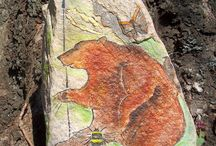 stone paintings / Paintings on stones from fields and beaches in Skandinavia