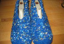 Filzhausschuhe / Strickgefilzte Puschen für warme Füße:-)