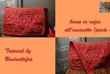 borsa in rafia all'uncinetto / foto e video-tutorial