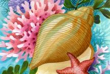 Рисованный морской натюрморт