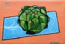 Painting/Yoga Veggies / What happens when vegetables attend yoga class? What poses are they particularly good at? Do vegetables have chakras? Tell me your favorite pose and/or vegetable!