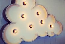 Le Cloud Wall Light  / Le Cloud Light is our latest addition to the Vegas Boneyard family. He's handsome, he's serene, he's utterly dreamy. He's available in large and medium, and the petite will be available very soon. Wall mountable (2 x pre-drilled key hole slots) and complete with a dimmer switch, he can be placed on a console/table as well. http://www.fromagelarue.com.au/collections/vegas-boneyard-letter-lights/products/le-cloud-light / by Fromage la Rue Vintage Marquee Letter Lights