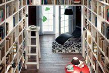 library, bookshelf, reading corner / the island of joy