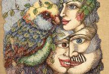 Cheryl Bridgart's Birds & Faces embroidered