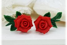 Rose Earrings / Hand sculpted rose earrings available in different sizes and many many colors! New colors added all the time!