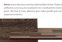 Natural Interno Veneers / Interno veneers showcases veneering craftsmanship at its best. Unique assortments of veneer strips ranging in widths from 12mm to 25mm are placed in mix-n-match patterns to derive a solid wood plank look onto over veneer panels. This kind of veneer placement gives widest possible grain variations to surfaces and thus landing uniqueness to surfaces.