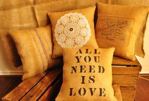 Hessian Cushions  / The Stone Stack collection of handmade rustic style cushion covers, hessian and sack, hand stencilled, doily and graphics :)
