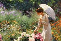 Malarstwo - kobiety i kwiaty