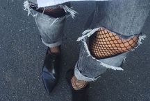 Jeans & Fishnet Tights