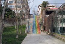 Rainbow Stairs / Rainbow stairs found throughout Istanbul, Turkey. #RainbowStairs #RainbowSteps