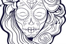 Sugar Skull Colouring Pages / Symbolic with the Craneo Y Rosa & the day of the dead the sugar skull played a large part in the designs of the Mindfun Tees!