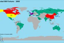 Global Fortune 500 Map / Country World map showing Global fortune 500 list. It is a thematic maps of the total number of businesses in the country.
