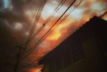 奇麗な夕陽。 break storm with the color #sunset #sky #snapshot #redsky #夕焼け #空 #電線 #台風の後写真
