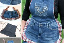 country denim/flannel aprons