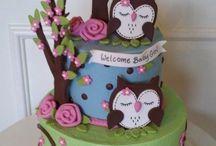 owl baby shower cake ideas