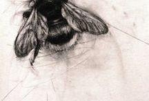 Bee & flower tattoos