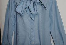 LADIES SHIRT BLUE BY SAVILE ROW UK 16 TIE NECK