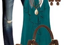 Casual look / Denim/turquoise/brown