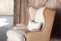 Vintage leather burlap chair