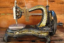 Sewing Machines / antique. vintage. sewing. contraption. metal. wood. more.