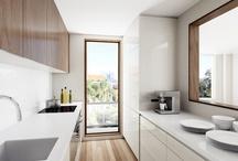 Narrow cool kitchen