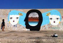 """(2013) Wallpainting at the Port: """" Les deux Filles des Ondes """" .. Cala Gonone ***"""