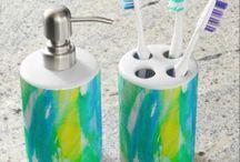 Teal Aqua Watercolor Bath Sets