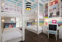Bunking with Brooklyn / #kidsrooms #bunkroom #girlsroom #bunkbeds #pink #blue #stripes #customdesign #designforkids #ibbdesign #interiordesign #colorfuldesign