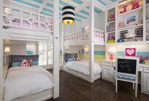 Bunking with Brooklyn / #kidsrooms #bunkroom #girlsroom #bunkbeds #pink #blue #stripes #customdesign #designforkids #ibbdesign #interiordesign #colorfuldesign