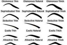 wenkbrauwen, oog en lip