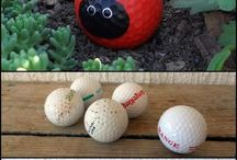 Golf ball and pebbles