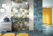 Kakel till Badrum (bathroom tile with color) med färg / Idéer och inspiration för färgsättning i ett badrum